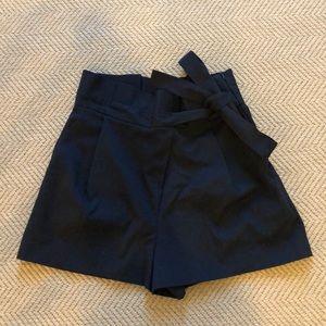 Zara NWT Navy High Waisted Pleated Tie Short Sz S